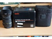 Sigma 17-50mm F2.8 EX DC OS Canon Mount Excellent Condition