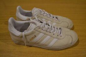 Adidas Gazelle trainers size 8 off white colour