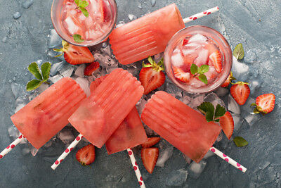 Strawberry Mojito Popsicles Photo Art Print Poster - Strawberry Mojito