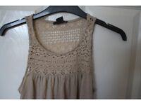 Next beige crochet dress size small