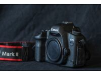 Canon 5D Mk ii booklet + 2 batteries + 2 memory cards + battery charger + USB cable