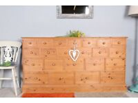 DELIVERY OPTIONS - LARGE 22 DRAWER SOLID PINE MERCHANTS CHEST VERY HEAVY & SOLID