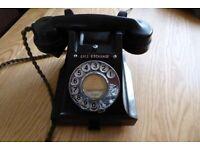 VINTAGE RARE 1950S GPO/BT 312 BLACK BAKELITE TELEPHONE
