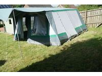 Relum family size, frame tent with sun canopy.