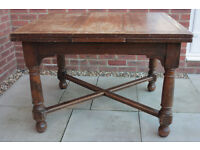 Antique solid oak extending dining table, ideal shabby chic project!