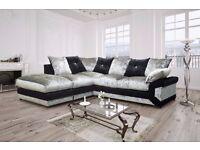 **New Stock Offer ** Crushed Velvet Fabric Corner Sofa Left / Right Hand Black & Silver Formal Back