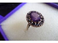 9ct GOLD AMETHYST AND DIAMOND RING SIZE O WITH PRESENTATION BOX