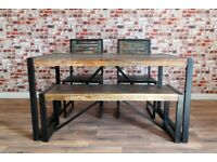 Boat Wood Reclaimed Dining Table, Bench and Chairs Rustic Industrial Metal Set