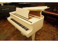 New white baby grand piano, by Bentley, with bench and free delivery UK wide