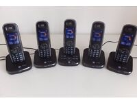 SET of 5 [FIVE] BT Cordless Home Phones with Digital Answering Machine
