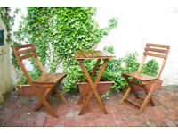 3-peice garden patio or balcony set, wooden folding table and chairs, excellent condition