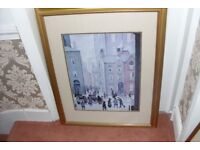 "L.S. LOWRY 1929 PICTURE PRINT 32""HIGH X 25"" WIDE GOLD FRAME"