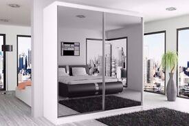 BERLIN Wardrobe With Sliding Doors Fully Mirrored White / Black/Walnut