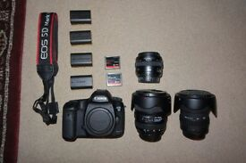 Canon 5D mark III + 12-24mm, 50mm, 24-70mm lenses + huge accessory bundle