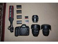 Canon 5D mark III + 12-24mm, 50mm, 24-70mm lenses + huge accessory bundle