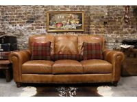 Vintage Style Distressed Leather 3 Seater Sofa
