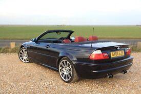 BMW M3 3.2 SMG, 2004, E46 Cabriolet, Carbon Schwarz Metallic, Imola Red Leather, 103k