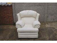 Cream Leather Recliner Chair