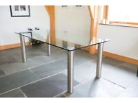 Fantastic glass and stainless steel dining table 2m x 1m