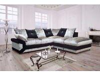"Fantastic Dino Crushed Velvet Corner sofa in ""Grey and Black"" color!! ""Express Delivery"""