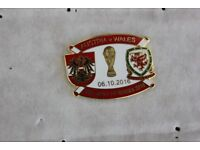 EACH ONLY £1.75 AUSTRIA V WALES ENAMEL FOOTBALL BADGE Oct 2016 World Cup Qualifier Choice of TWO