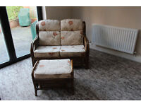 Conservatory Cane Sofa & stool in good condition