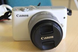 Canon Eos M10(White)with Kit Lens + Free Cases + Screen Protector--LOOKS BRAND NEW!