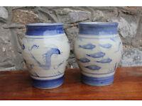 Stunning Handmade Matching Vintage Vases Fish & Sea Monster Nautical Maritime Irish Art Pottery Vase
