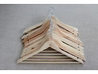 15 Natural Wooden Clothes Hangers Wardrobe Storage Retail Clothing Display Solid Wood