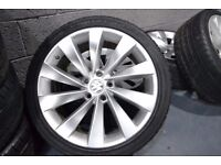 VOLKSWAGEN 18 INCH ALLOYS AND TYRES 225/45/18 5 x 112 TURBINE ALLOYS