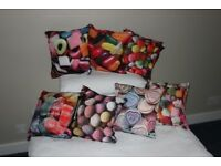 cushions - set of seven, sweet-themed scatter cushions - never used