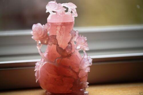 A006  a very nice antique estate Chinese carved pink rose quartz lidded vase