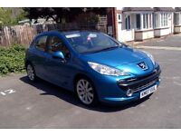 Peugeot 207 1.6 HDI 110bhp 5dr, 2007, panoramic roof, half leather, £30 tax, 55mpg