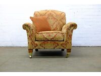 LUXURY DERWENT PARKER KNOLL BURGHLEY ARMCHAIR IN CLASSIC RED / GOLD CHENILLE