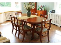 Classic Dining Table, Six Chairs, and Matching Corner Display Cabinet