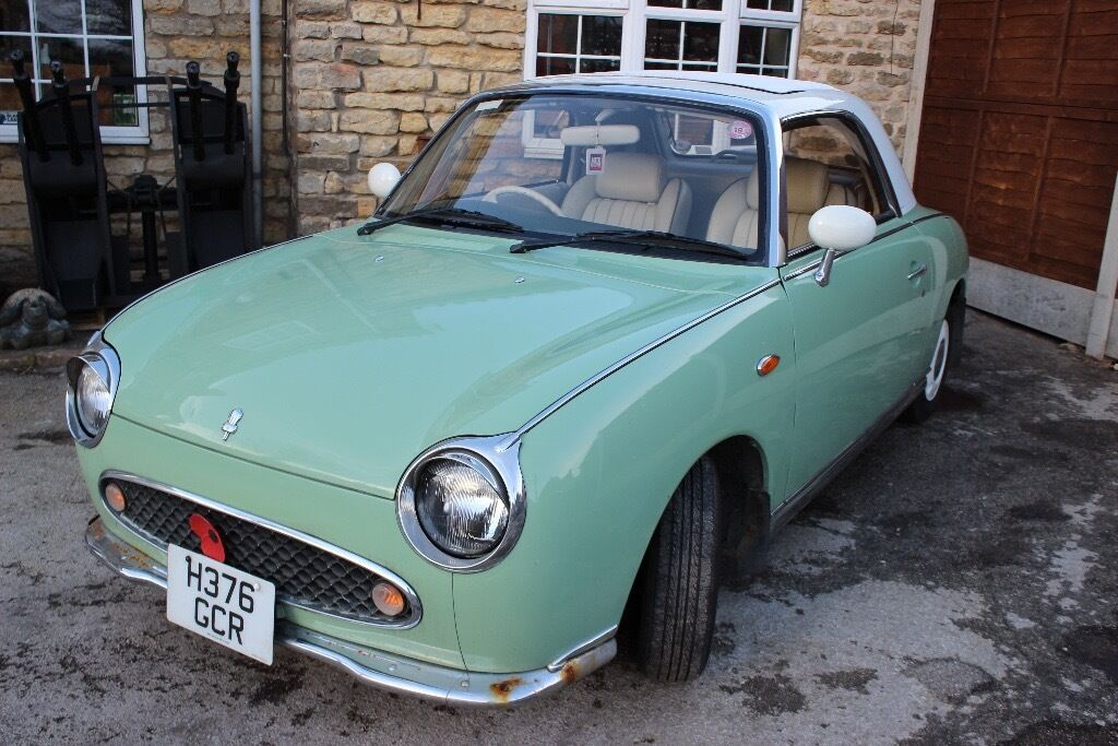 Nissan Figaro - Convertible, retro classic car in original emerald ...