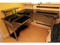 Ergonomic Black Toughened Glass Executive Corner Desk