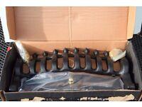 "Black Blenheim 16"" Fire Fender Gold-plated finials for Gas/Electric Fire"