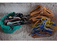 FREE to collector, 50 coat hangers, wood, metal, plastic, in a box
