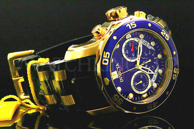 New Invicta Scuba Pro Diver 48MM Chrono 18K Gold Plated Blue DialS.S Poly Watch