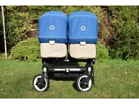Bugaboo Donkey Twin Pram, Royal Blue, carrycots, seats and rain covers.