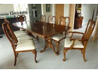 Dark Wood Extendable Dining Table and 8 Chairs