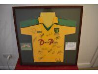 Norwich city signed centenary shirt 2002