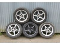 "Toyota 16"" Alloy wheels x5, Very good tyres (5x100 Fitment)"