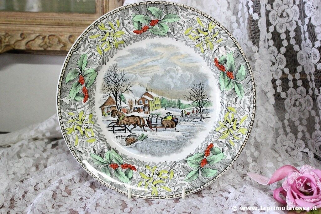 PIATTO DI NATALE D'EPOCA IN CERAMICA - VINTAGE ADAMS CHINA WINTER SCENES PLATE