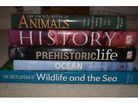 5 huge encyclopedia's of 'Animals', History', 'Prehistoric life', 'Ocean' and 'Wildlife and the sea'