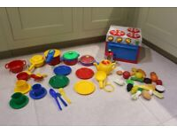 Toy kitchen food bits and pieces utensils toddler young children toy play house
