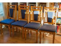 Solid Pine Dining Room Chairs x 4