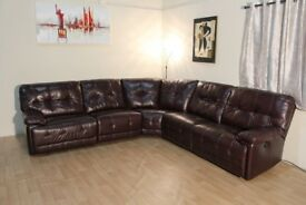 Ex-display Max burgundy leather electric recliner corner sofa