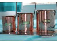 Vintage Set of three Copper Cider Measure Ladles